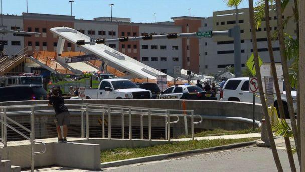 PHOTO: This AFP TV video frame grab shows a newly installed pedestrian bridge over a six-lane highway in Miami on the Florida International University in Miami, March 15, 2018, crushing a number of cars below. (Miguel Gutierrez/AFP/Getty Images)