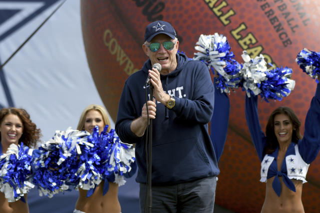 Cowboys owner Jerry Jones knows how to make an entrance as he opens up his team's 2017 training camp in Oxnard, California. (AP)