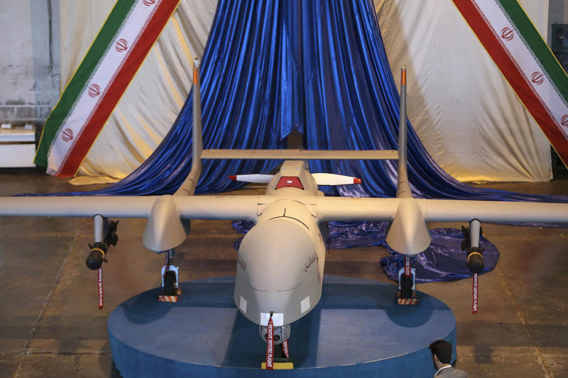 This photo released on Monday, Nov. 18, 2013 by the Iranian Defense Ministry claims to show a Fotros drone aircraft, in an undisclosed location, in Iran. Iran unveiled a new aircraft Monday that it says is the biggest drone yet to be developed in the Islamic Republic, capable of staying aloft for up to 30 hours. Defense Minister Hossein Dehghan said the reconnaissance and combat drone Fotros has a range of 2,000 kilometers (1,250 miles). That would cover much of the Middle East including Israel. The earlier Shahed-129, or Witness-129, drone is reported to have a similar range, but can only stay aloft 24 hours.(AP Photo/Iranian Defense Ministry)