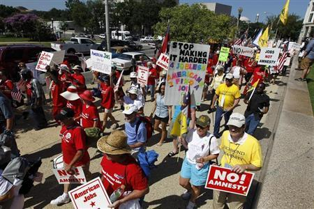 Demonstrators march against amnesty for illegal aliens in Washington