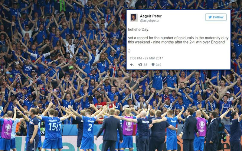 Iceland supporters celebrate their team's 2-1 win over England at Euro 2016 - 2016 Getty Images