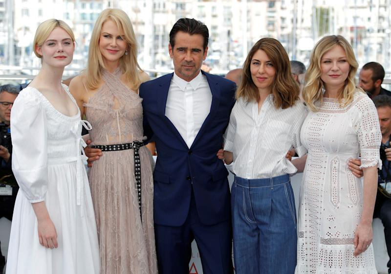 """Elle Fanning, Nicole Kidman, Colin Farrell, Sofia Coppola and Kirsten Dunst attend a photo call for """"The Beguiled"""" at the Cannes Film Festival on May 24, 2017."""