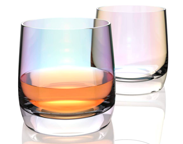 """<h2>Iridescent Tumblers<br></h2><br>Wrap your drink up in an understated rainbow with this set of iridescent, lead-free glass tumblers.<br><br><strong>Amesser</strong> Iridescent Tumblers, $, available at <a href=""""https://www.amazon.com/Amesser-Whiskey-Glasses-Old-Fashioned/dp/B08CSLLSC7"""" rel=""""nofollow noopener"""" target=""""_blank"""" data-ylk=""""slk:Amazon"""" class=""""link rapid-noclick-resp"""">Amazon</a>"""