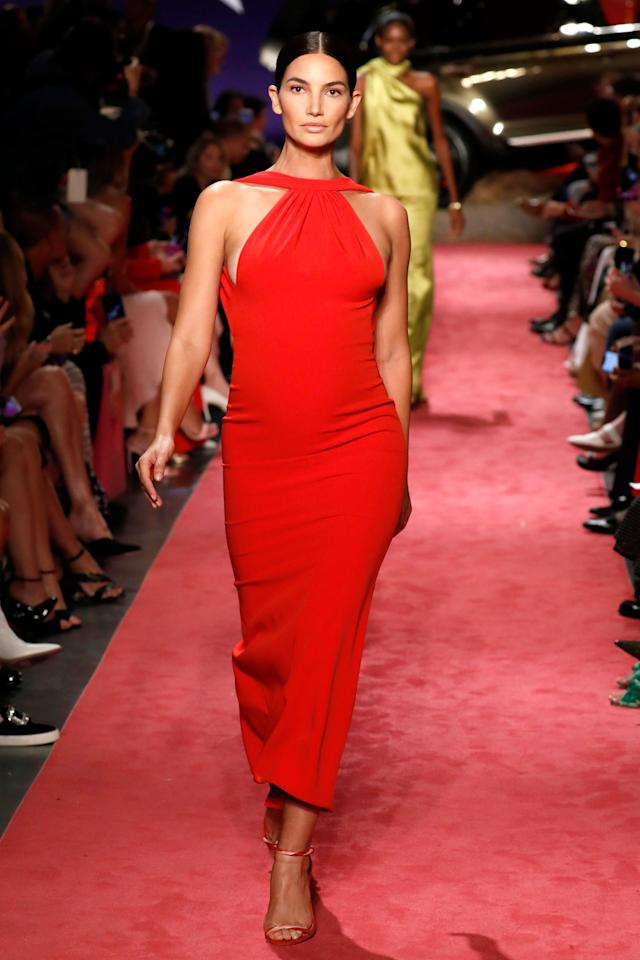 """Aldridge walked in the Brandon Maxwell show at New York Fashion Week in 2018 <a href=""""https://people.com/parents/lily-aldridge-5-months-pregnant-nyfw-runway/"""">while fivemonths pregnant</a>.  Aldridge posted a photo of herself on the runway thanking the designer, saying: """"So proud to walk the @brandonmaxwell runway 5 months pregnant! I've walked few runways in my life and this is a moment that I'll look back on forever with great emotion. Thank you Brandon for letting my shine & being such a true gentleman, Love you FOREVER!!!"""""""