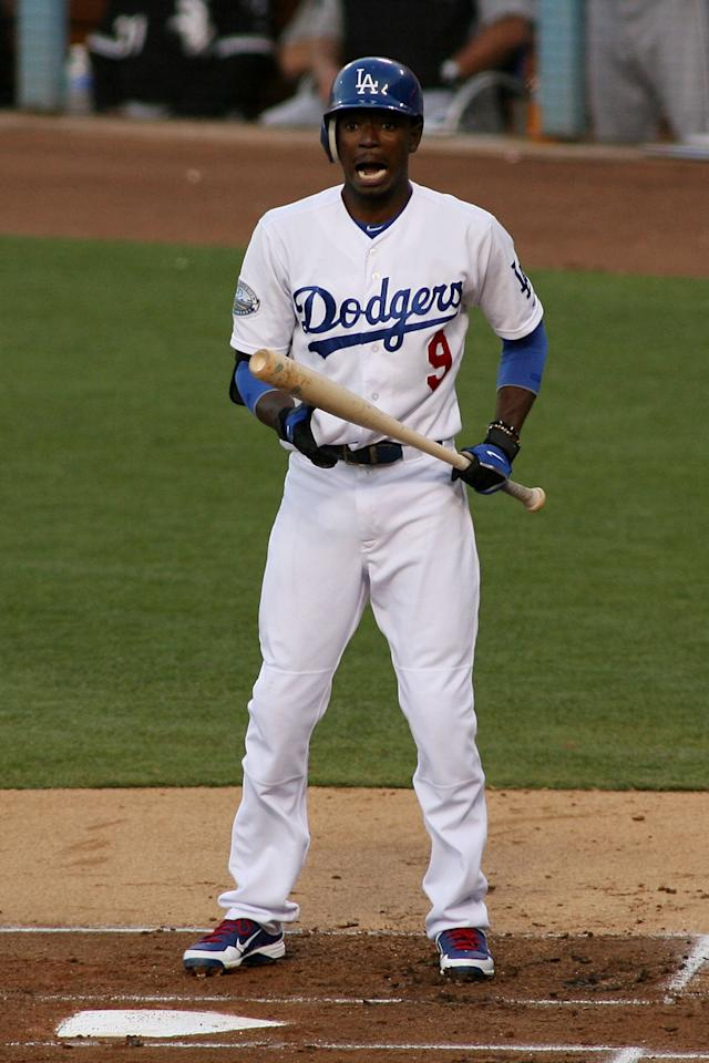 LOS ANGELES, CA - JUNE 16:  Dee Gordon #9 of the Los Angeles Dodgers reacts after striking out looking against the Chicago White Sox for the first out in the first inning at Dodger Stadium on June 16, 2012 in Los Angeles, California.  (Photo by Jeff Golden/Getty Images)