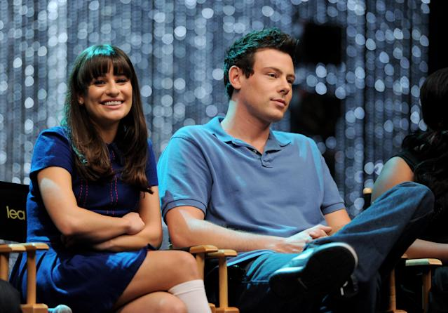 "LOS ANGELES, CA - OCTOBER 26: Actors Lea Michele (L) and Cory Monteith appear at the ""GLEE"" 300th musical performance special taping at Paramount Studios on October 26, 2011 in Los Angeles, California. (Photo by Kevin Winter/Getty Images)"