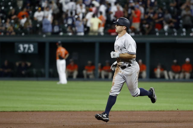 New York Yankees' Brett Gardner rounds the bases after hitting a two-run home run in the fourth inning of the second baseball game of a doubleheader against the Baltimore Orioles, Monday, July 9, 2018, in Baltimore. (AP Photo/Patrick Semansky)