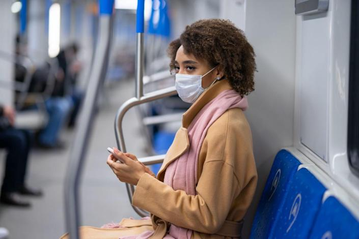 medical mask in the metro