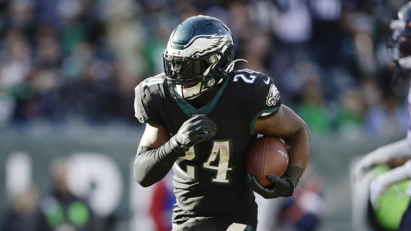 Philadelphia Eagles running back Jordan Howard in action during an NFL football game against the Chicago Bears, Sunday, Nov. 3, 2019, in Philadelphia. (AP Photo/Matt Rourke)
