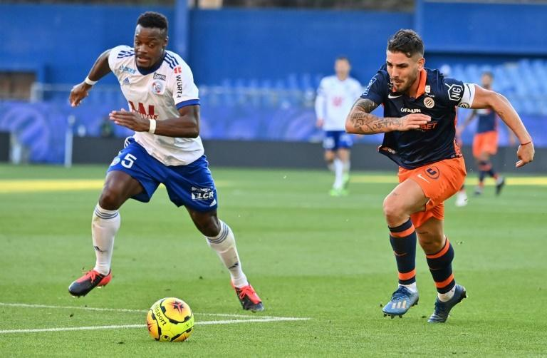 Algerian forward Andy Delort (right) scored twice in Montpellier's 4-3 win over Strasbourg