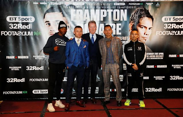 Boxing - Carl Frampton & Nonito Donaire Public Work-Outs - Victoria Square Shopping Centre, Belfast, Britain - April 18, 2018 Carl Frampton, Nonito Donaire, Zolani Tete and Omar Andres Narvaez pose with promoter Frank Warren after a press conference Action Images via Reuters/Jason Cairnduff