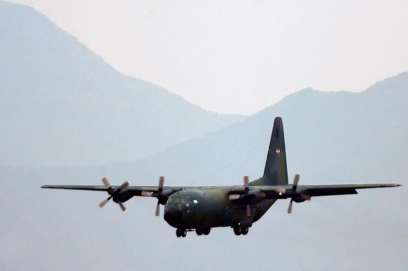 A stock image of a A C-130 military transport plane, the same as that which disappeared with 38 people onboard on Monday. Source: AAP