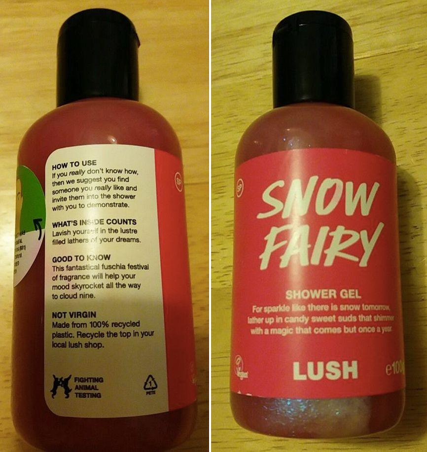 Lesley Hughes was asked by daughter why her Lush 'Snow Fairy' body wash told her to 'find someone she really likes and take them into the shower'. Source: Facebook