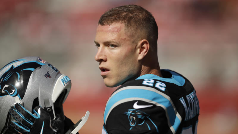 Carolina Panthers running back Christian McCaffrey during an NFL football game against the San Francisco 49ers in Santa Clara, Calif., Sunday, Oct. 27, 2019. (AP Photo/Ben Margot)