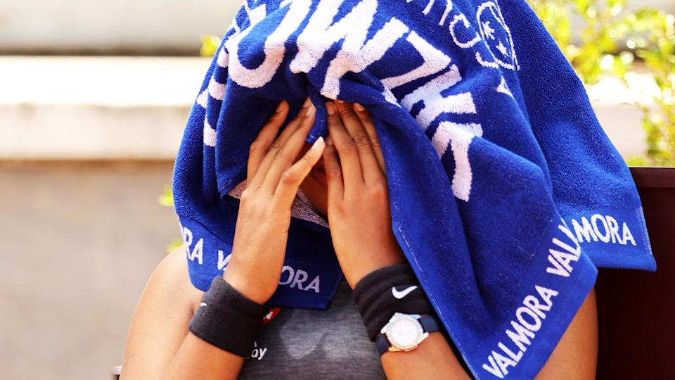 Naomi Osaka, pictured here during her loss to Jessica Pegula at the Italian Open.