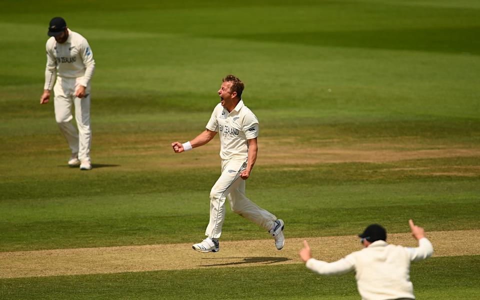 SOUTHAMPTON, ENGLAND - JUNE 23: Neil Wagner of New Zealand celebrates taking the wicket of Ravindra Jadeja of India during the Reserve Day of the ICC World Test Championship Final between India and New Zealand at The Hampshire Bowl on June 23, 2021 in Southampton, England. (Photo by Alex Davidson/Getty Images)