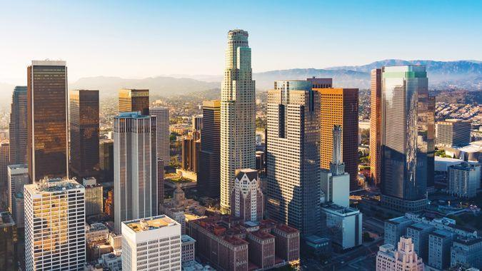Aerial view of a Downtown Los Angeles at sunset.