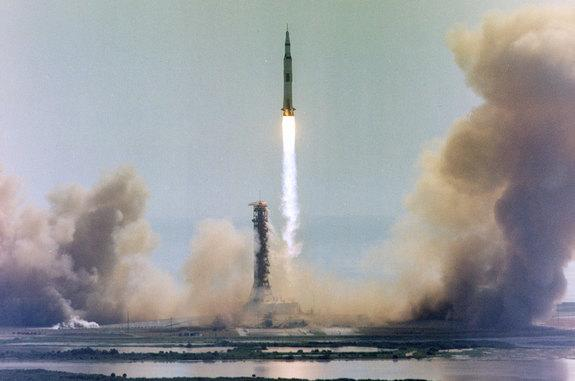 The rocket that Neil Armstrong rode: Apollo 11's Saturn V lifts off from Kennedy Space Center in Florida on July 16, 1969.