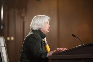 Federal Reserve Chair Janet Yellen speaks during a news conference at the end of the Federal Open Market Committee meeting, Wednesday, March 18, 2015 in Washington. The Federal Reserve forecasts that the U.S. unemployment rate can now fall further without spurring inflation, a sign that it may move slowly in raising interest rates. (AP Photo/Kevin Wolf)