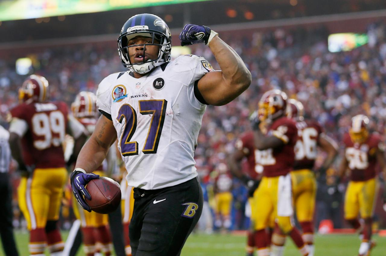 LANDOVER, MD - DECEMBER 09: Running back Ray Rice #27 of the Baltimore Ravens celebrates after scoring a touchdown against the Washington Redskins during the fourth quarter of the Ravens 31-28 loss at FedExField on December 9, 2012 in Landover, Maryland.  (Photo by Rob Carr/Getty Images)