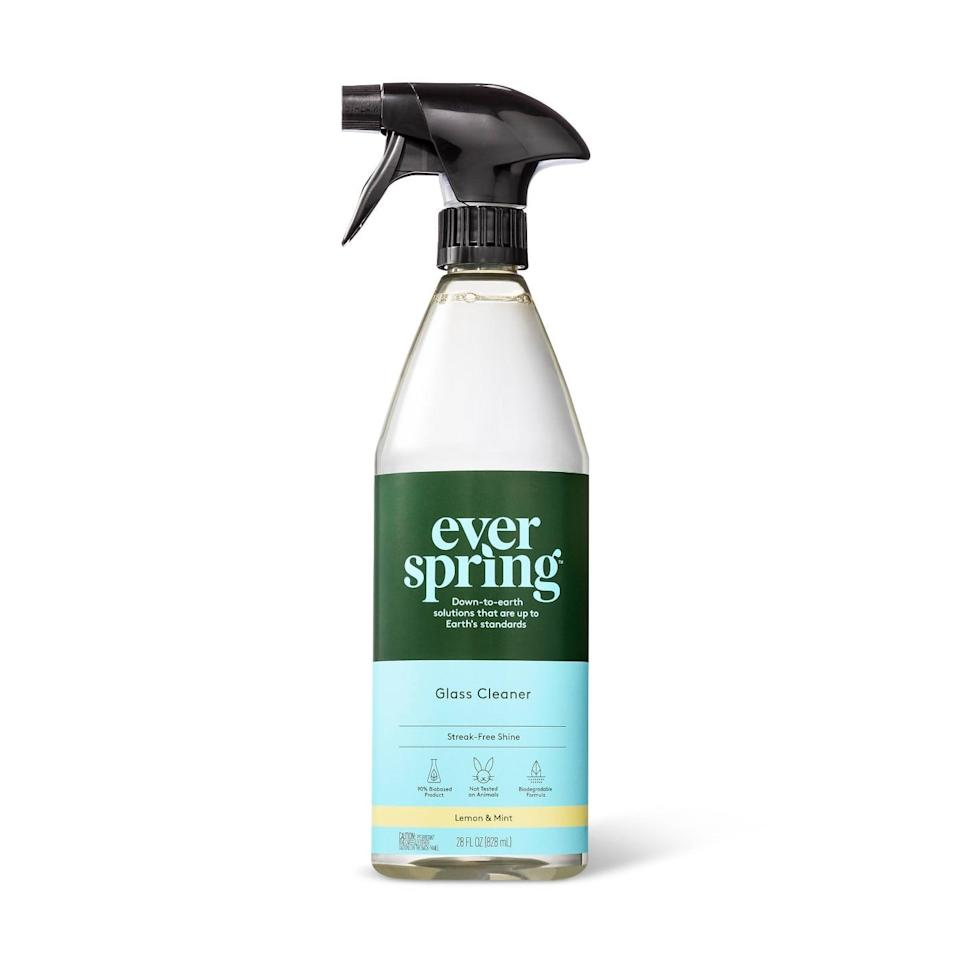"<p>Target launched its own sustainable household brand, Everspring, offering everything from biobased cleaning wipes to all-purpose cleaner, but people are obsessed with this <a href=""https://www.popsugar.com/buy/Everspring-Lemon-amp-Mint-Glass-Cleaner-437601?p_name=Everspring%20Lemon%20%26amp%3B%20Mint%20Glass%20Cleaner&retailer=target.com&pid=437601&price=3&evar1=casa%3Auk&evar9=46054351&evar98=https%3A%2F%2Fwww.popsugar.com%2Fhome%2Fphoto-gallery%2F46054351%2Fimage%2F46054491%2FEverspring-Lemon-Mint-Glass-Cleaner&list1=cleaning%2Ccleaning%20tips&prop13=api&pdata=1"" rel=""nofollow"" data-shoppable-link=""1"" target=""_blank"" class=""ga-track"" data-ga-category=""Related"" data-ga-label=""http://www.target.com/p/lemon-mint-glass-cleaner-28-fl-oz-everspring-153/-/A-75663185"" data-ga-action=""In-Line Links"">Everspring Lemon &amp; Mint Glass Cleaner</a> ($3), which provides your glass with an ammonia- and streak-free shine.</p>"