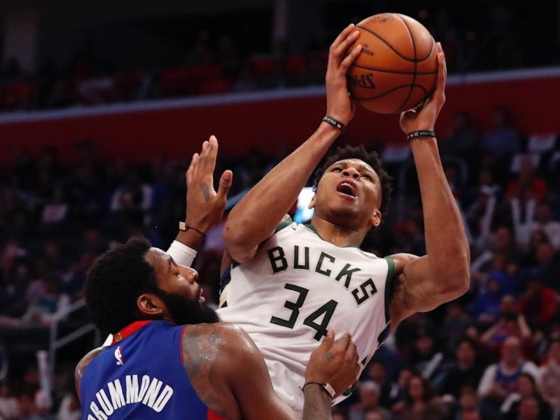 Giannis Antetokounmpo changed his mind mid-air about a dunk in a play that's familiar to Michael Jordan fans. (AP)
