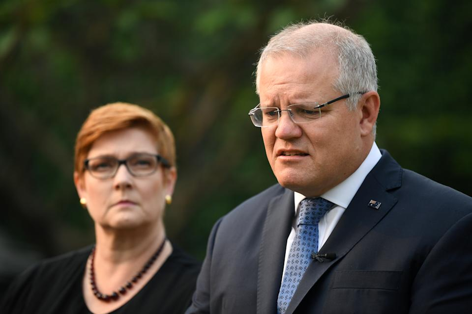 Scott Morrison and Foreign Minister Marise Payne address the media at Kirribilli House on Tuesday. Source: AAP