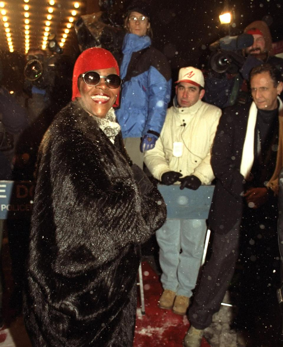 <p>The legendary actress, model and activist looked ultra glamorous in a fur coat and sunglasses, showing up to support longtime pal Houston in her second big screen role. </p>
