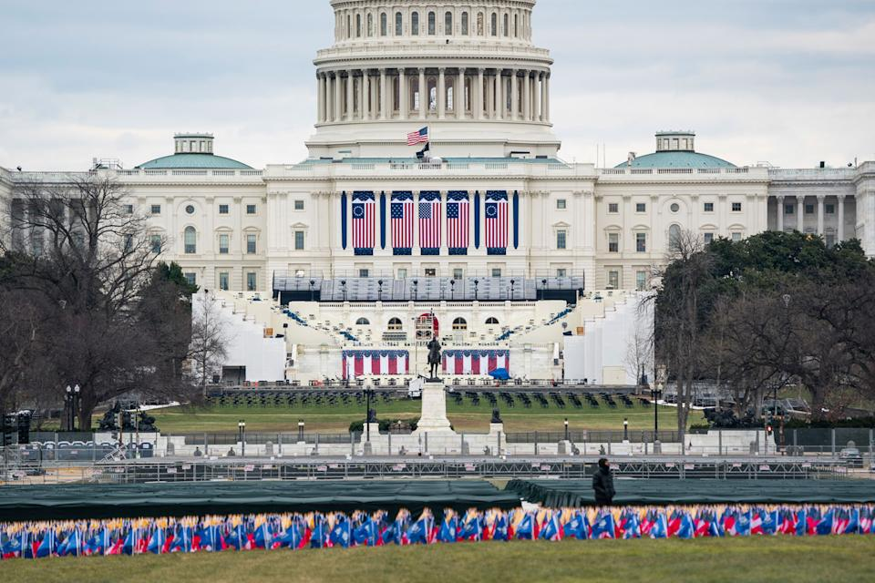 The US Capitol is seen ahead of President-elect Joe Biden's inauguration from the National Mall in Washington DC