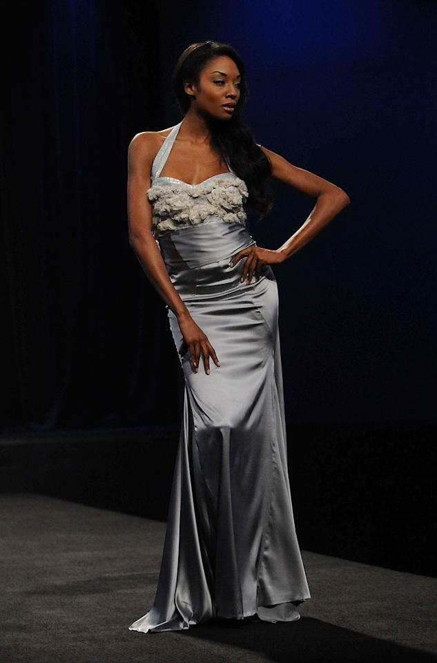 """Althea's red carpet look modeled by Tanisha on Season 6 of <a href=""""/project-runway/show/36319"""">""""Project Runway.""""</a>"""