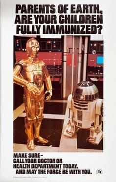 Star Wars characters C3PO and R2-D2 in a poster promoting immunization.