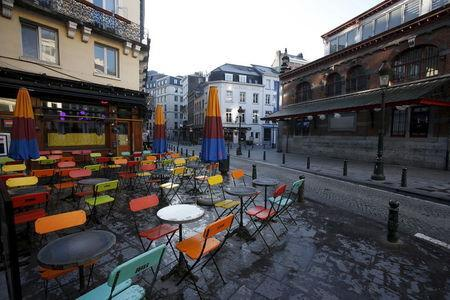 Empty cafes are pictured in Brussels on the third day of a security lockdown following the fatal attacks in Paris, November 23, 2015. REUTERS/Youssef Boudlal