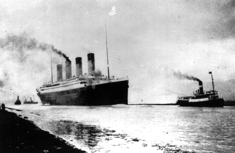 FILE - In this April 10, 1912 file photo, the Luxury liner Titanic departs Southampton, England, for her maiden Atlantic Ocean voyage to New York. An expedition team using sonar imaging and robots has created what is believed to be the first comprehensive map of the entire Titanic wreck site on the bottom of the North Atlantic Ocean. The luxury passenger liner sank about 375 miles south of Newfoundland, Canada, after striking an iceberg on its maiden voyage from England to New York on April 15, 1912, killing more than 1,500 people. (AP Photo, File)