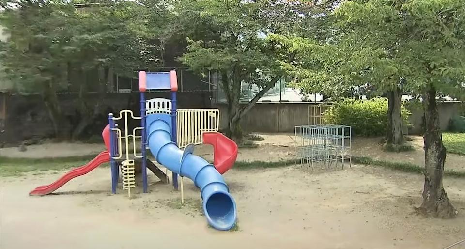 The playground in Otsu, Japan where a six-year-old girl was found dead.