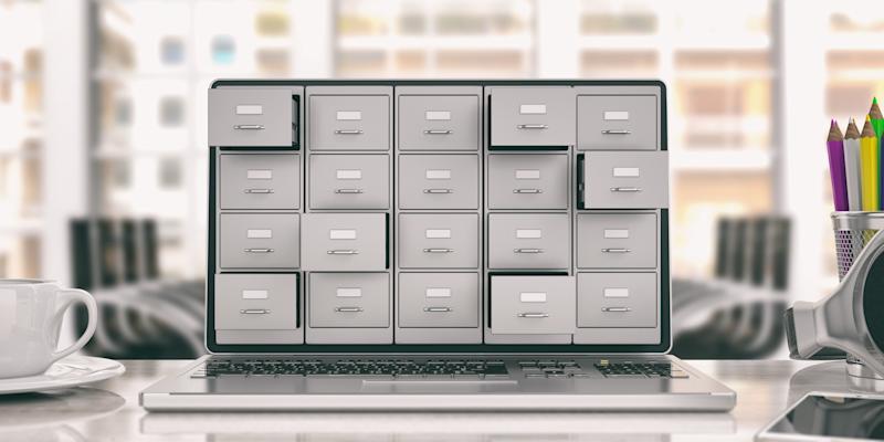 A stack of file cabinets four high and five wide displayed on laptop monitor.