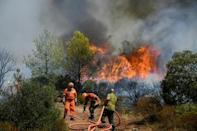 Strong winds have fanned the flames of the first major summer wildfire in France