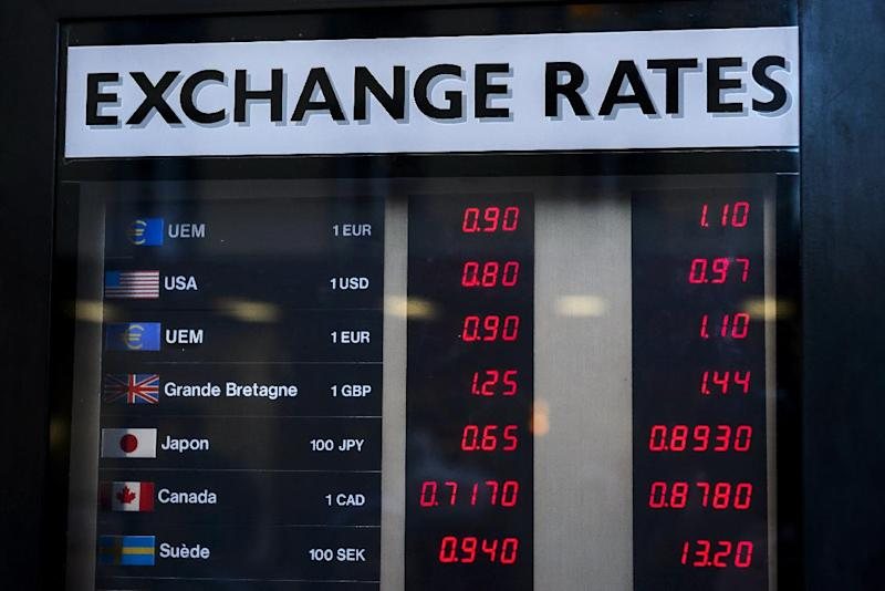 Currency rates are displayed at an exchange office in Geneva, Switzerland, on January 15, 2015 (AFP Photo/Fabrice Coffrini)