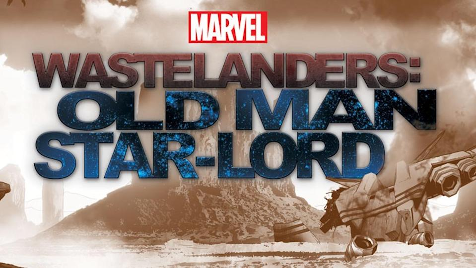 A wasteland with a spaceship in the lower right corner and a mountain in the background all behind text saying Marvel Wastelanders: Old Man Star-Lord