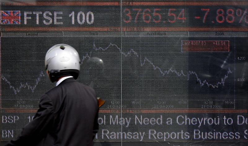 An electronic display board showing the FTSE 100 share index in London on October 24, 2008: AFP/Getty Images