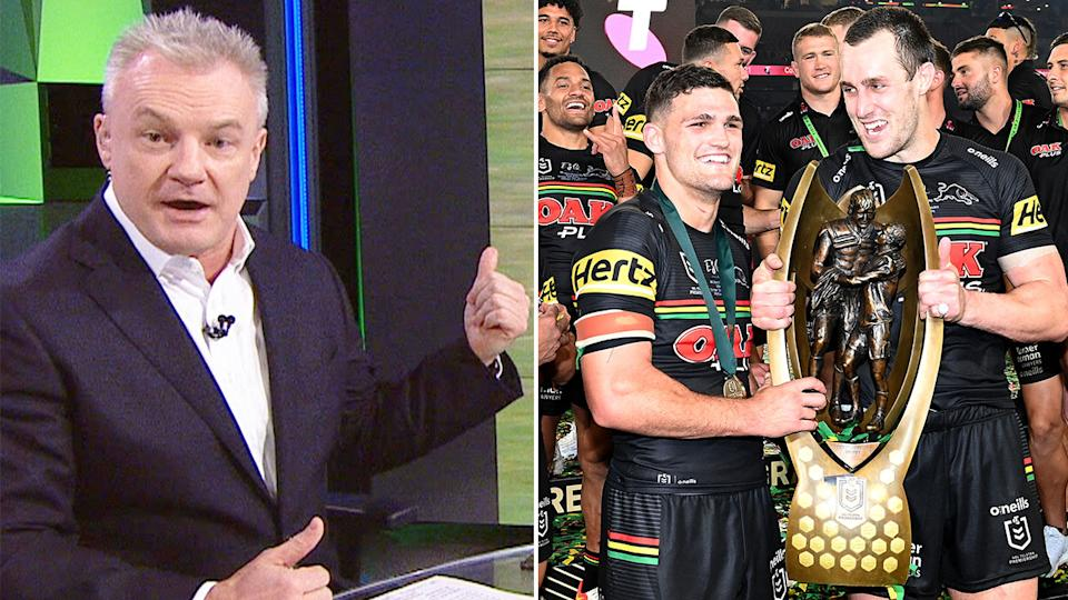 Pictured here, Fox Sports' Paul Kent and Penrith's victorious grand final stars.