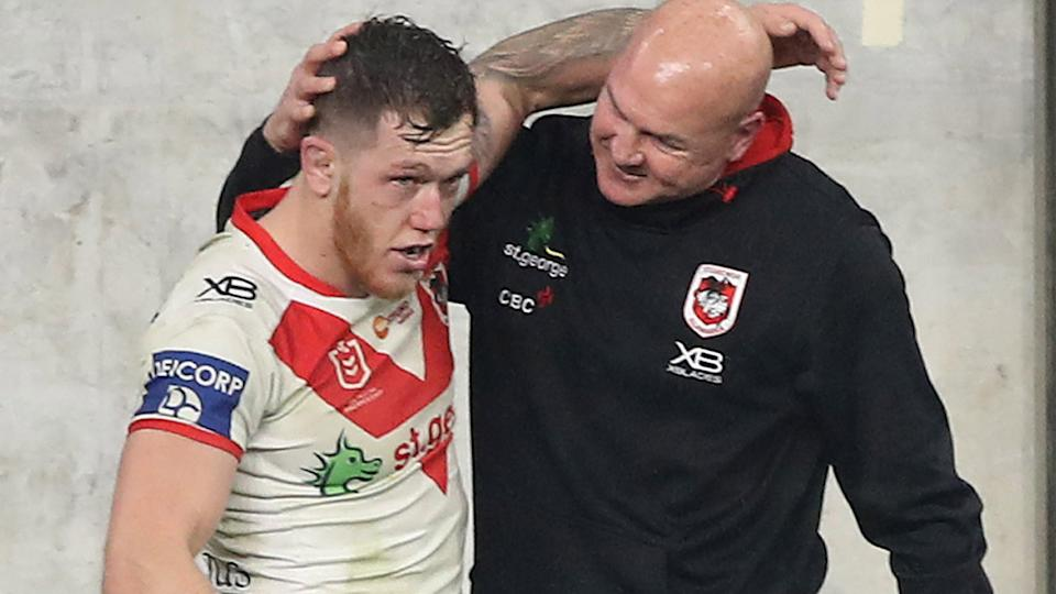 Cameron McInnes and Paul McGregor, pictured here after a Dragons game in 2020.