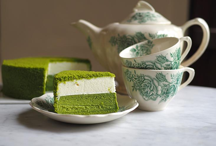 The matcha double fromage cheesecake is made from two cheese layers; one layer is baked cheesecake that is topped with a fluffy rare or no-bake cheesecake layer — Pictures by Lee Khang Yi