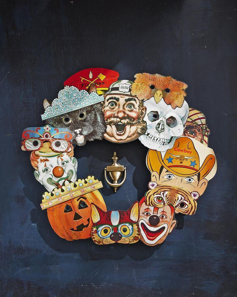 <p>Use vintage masks to create this fun wreath or have kids draw a set for you!</p><p><strong>To make: </strong>Source colorful vintage paper masks from websites like Etsy and eBay—you will need 10 to 15 total. Attach to an 18-inch craft ring with a dab of hot-glue, layering and overlapping them as you go.</p>