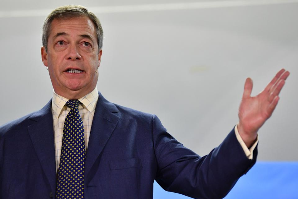 Brexit party leader Nigel Farage speaks at a Brexit party campaign event in Buckley, north Wales on December 2, 2019. (Photo by Paul ELLIS / AFP) (Photo by PAUL ELLIS/AFP via Getty Images)