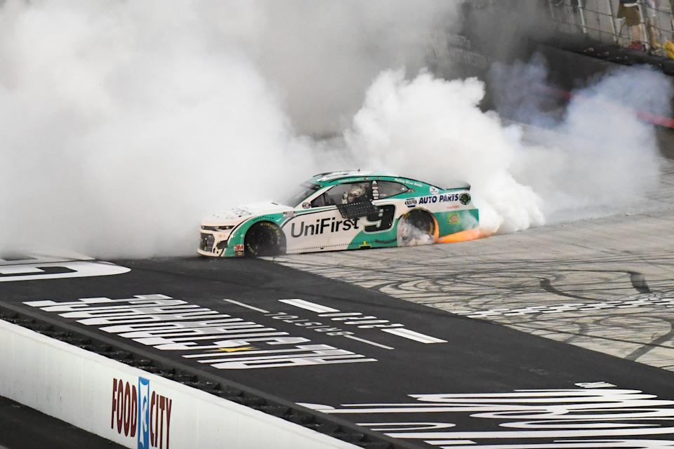 Chase Elliott does a burnout after winning the 2020 NASCAR All-Star Race at Bristol Motor Speedway.
