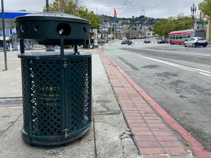 Bigbelly trash cans will be replaced with standard trash cans, like this one outside The Cafe.