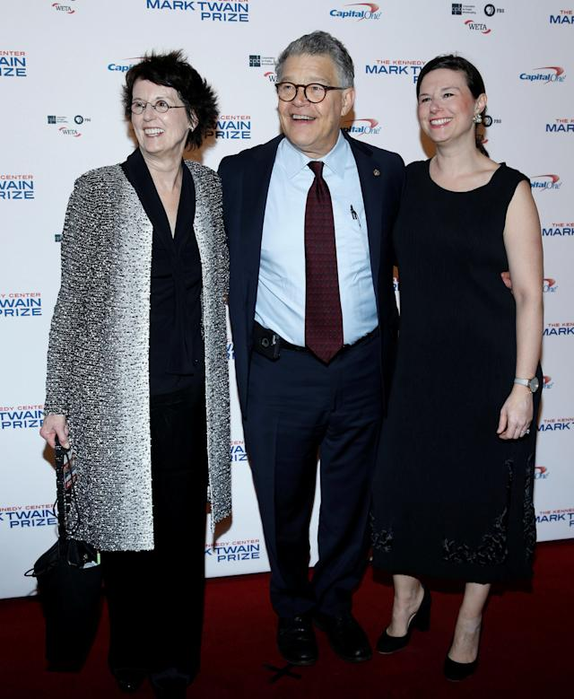 Sen. Al Franken, seen with his wife and daughter, appears at the gala honoring David Letterman in Washington last month.
