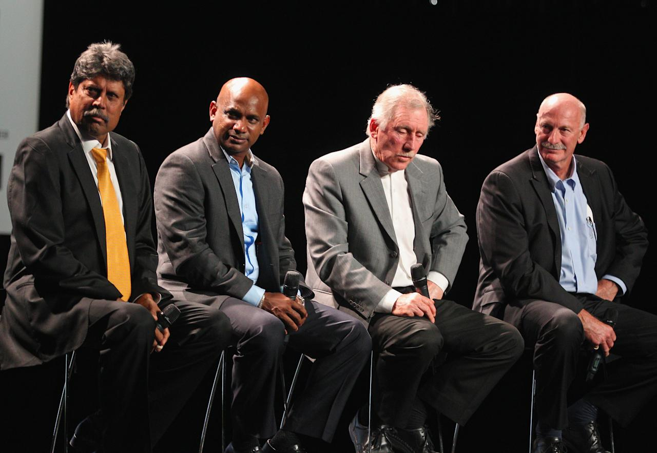MELBOURNE, AUSTRALIA - JULY 30:  Kapil Dev, former Indian ICC Cricket World Cup Captain; Sanath Jayasuriya, former Sri Lankan Captain; Ian Chappell, former Australian captain and former Australian player Dennis Lillee speak on stage during the Official Launch of the ICC Cricket World Cup 2015 on July 30, 2013 in Melbourne, Australia.  (Photo by Scott Barbour/Getty Images)