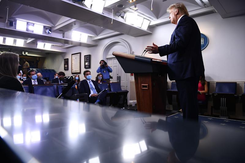 US President Donald Trump speaks to the press in the Brady Briefing Room of the White House in Washington, DC, on August 3, 2020. (Photo by Brendan Smialowski / AFP) (Photo by BRENDAN SMIALOWSKI/AFP via Getty Images)
