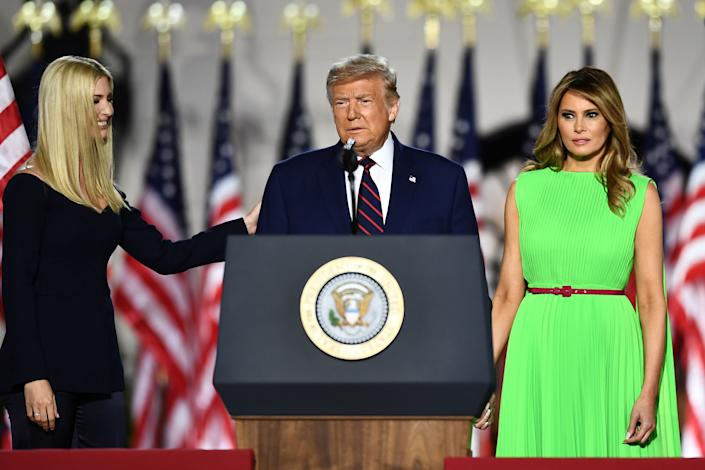 Ivanka Trump, President Donald Trump and and first lady Melania Trump before his acceptance speech for the Republican Party nomination on the South Lawn of the White House, August 27, 2020.